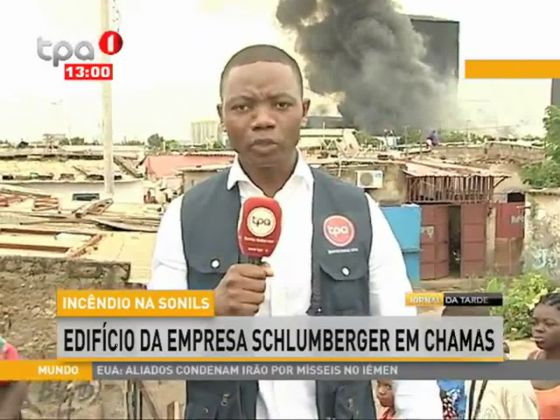 Incêndio na Sonils-Edificio da empresa Schlumberger em chamas